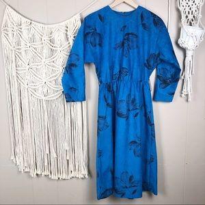 Vintage cobalt blue floral midi dress medium